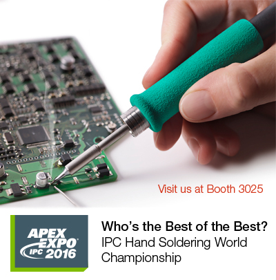 JBC is sponsoring the 2016 IPC Hand Soldering World Championship